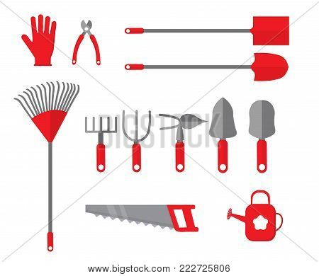 Set of various gardening items. Items for gardening. Garden tools icon set. Template for garden magazine, web, banners. Flat vector illustration.