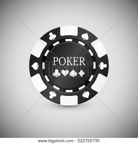 Black Casino Chip Icon. Casino Chip Vector Illustration.