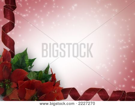 Poinsettias And Ribbons Christmas Background