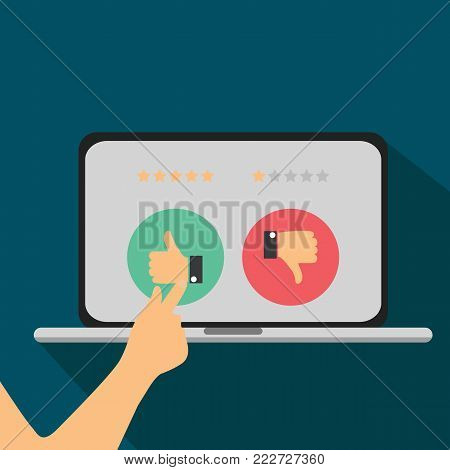 Rating on customer service illustration. Website rating feedback and review concept