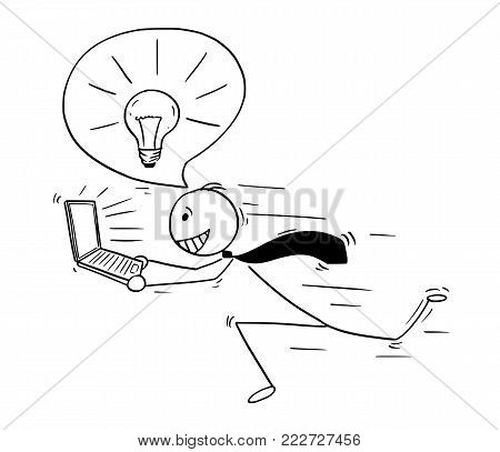 Cartoon stick man drawing conceptual illustration of businessman who got great idea running with laptop notebook computer and light bulb in speech bubble above his head.