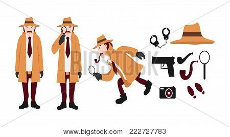 Big set of detective tools and detective characters. Includes a hat, a gun, handcuffs, a tube, a magnifying glass, traces, a camera. Isolated on white background. Flat vector illustration.