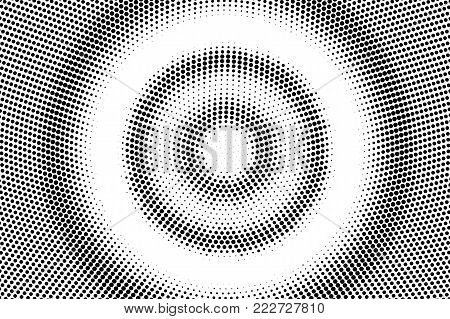 Black and white dotted halftone vector background. Sparse radial dotted gradient. Abstract monochrome background. Black ink dotwork on transparent backdrop. Perforated template. Pop art retro design