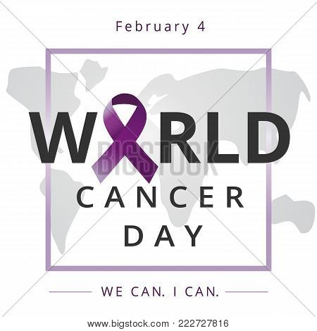 World cancer day, We can I can, medical care banner. February 4. Vector illustration of World Cancer Day with ribbon and text on world map