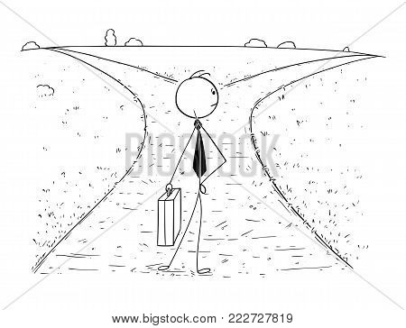 Cartoon stick man drawing illustration of businessman standing on the crossroad and making choice or decision. Concept of business career opportunities and choices.