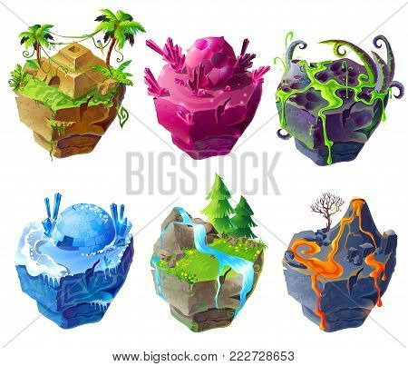 Vector isometric 3d fantastic islands for game design set. Cartoon illustration tropical temple, icehouse frozen location, volcanic, poisonous, green grass and waterfall and magic crystals islands