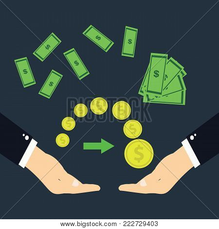 The transfer of money.Hands transferring money on a blue background