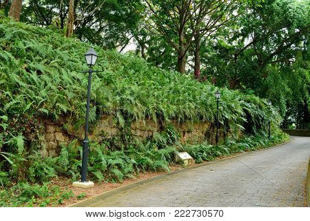 Remains of fort walls at Fort Canning in Singapore.