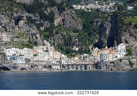 A view of Atrani on the Amalfi coast in Italy.