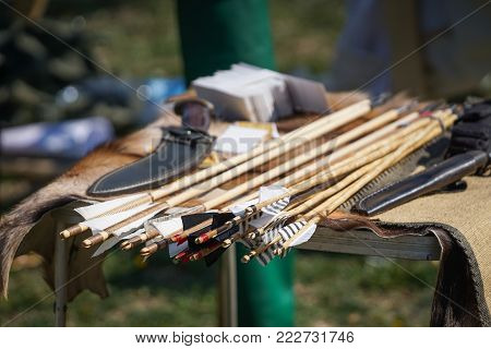 Old Style Wooden Arrows In The Case Of An Archer