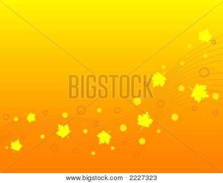 Abstract waves and circles with maple leaves poster
