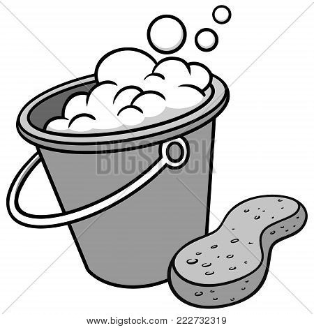 Car Wash Bucket and Sponge Illustration - A vector cartoon illustration of a Car Wash Bucket and a Sponge.