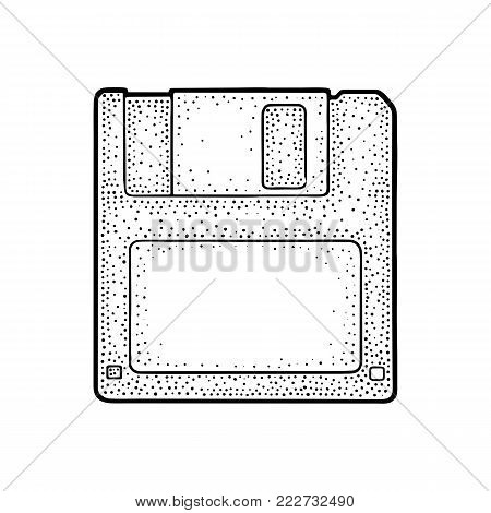 Floppy disk with blank label for personal computer. Engraving vintage vector black illustration. Isolated on white background. Hand drawn design element for label and poster