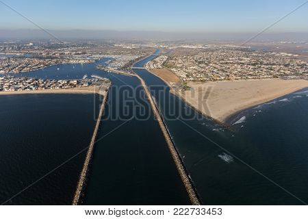 Aerial view of Alamitos Bay entrance and the end of the San Gabriel river in Long Beach, California.
