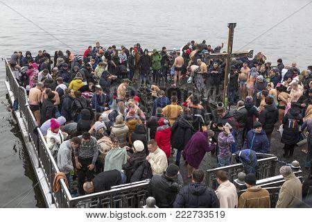 DNEPR, UKRAINE, JANUARY 19, 2018: Feast of the Baptism Jesus. Bathing in the Dnieper.