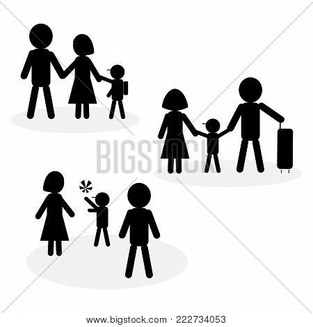 Simple family icons in black and white; symbol of child doing activities with parents; going to school, traveling, and playing ball. Isolated on white background. Flat design.