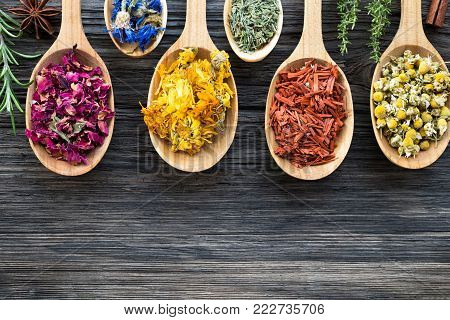Herbs on spoons on a wooden background with copy space. Fresh rosemary, thyme, dried rose petals, cornflower, calendula, horsetail, sandalwood, chamomile, star anise, cinnamon.