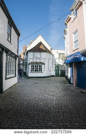 LYMINGTON, NEW FOREST, HAMPSHIRE, UK, JANUARY 2018 - View of Quay Street in the town of Lymington, New Forest, Hampshire, UK