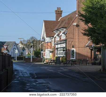 LYMINGTON, NEW FOREST, HAMPSHIRE, UK, JANUARY 2018 - Street view of the Musketeer public house in the town of Lymington, Hampshire, UK