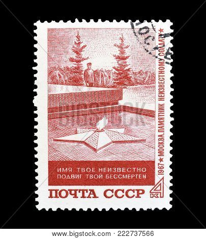 SOVIET UNION - CIRCA 1967 : Cancelled postage stamp printed by Soviet Union, that shows Monument of the Unknown Soldier.