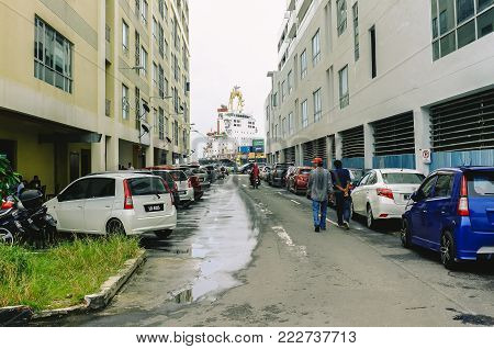 Labuan,Malaysia-Jan 18,2018:Carpark in the street of Labuan,Malaysia.Labuan island having problem with parking space due to limited space & cars keep increasing every year.