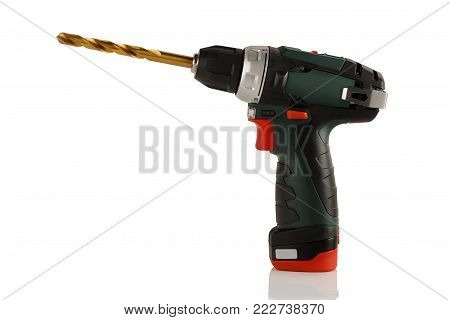 Advanced, powerful and compact battery drill screwdriver on white background