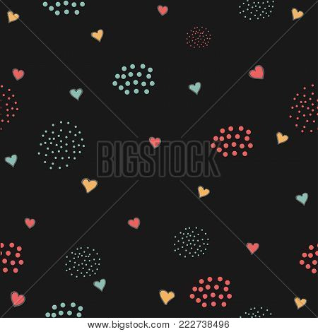 Cute Hearts Background. Seamless Pattern With Hearts