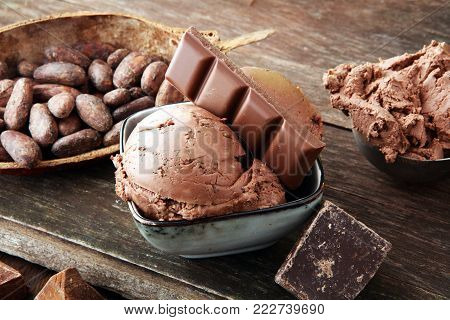 Chocolate ice cream scoop, scooped with a ice spoon