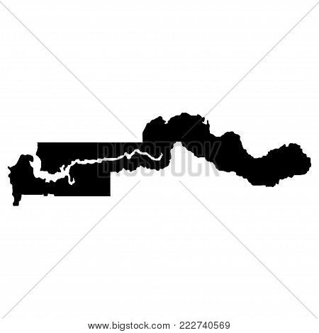 Territory of Gambia. White background. Vector illustration