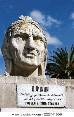 Bust of the Inca warrior Ruminawi, murdered 1535 by the Spaniards, indigenous people's hero in the resistance fights during the Spanish conquest of Ecuador