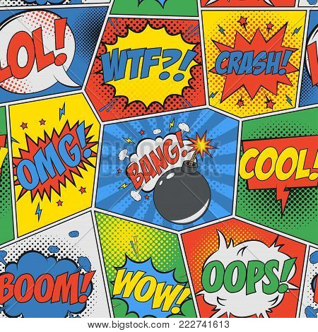 Comic seamless background. Pop art retro pattern with speech bubbles and bomb. Backdrop for design of comics book. Vector illustration.