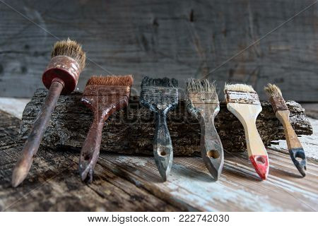Set Of Used Brushes On A Wooden Surface With, Retro And Vintage, Copy Space