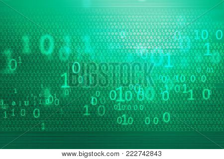 Digital binary codes background, big flat green screen with covered by digital numbers.