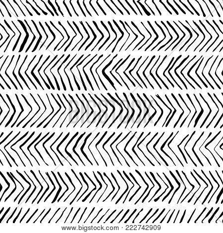 Vector Black White Herringbone Seamless Pattern. Watercolor, Ink Background. Scandinavian Design, Fa