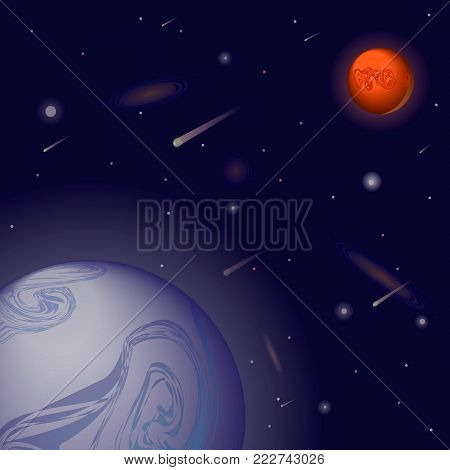 Vector realistic and futuristic space background with bright light planets and stars. Cosmos banner with neon light 3d objects and glowing tracks. Abstract universe with big blue planet