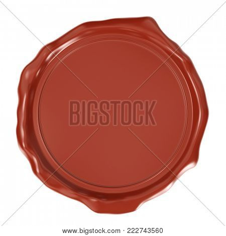 Red Wax Seal Isolated on White Background. Quality Guarantee or Warranty Sign. Top View. 3D Illustration.