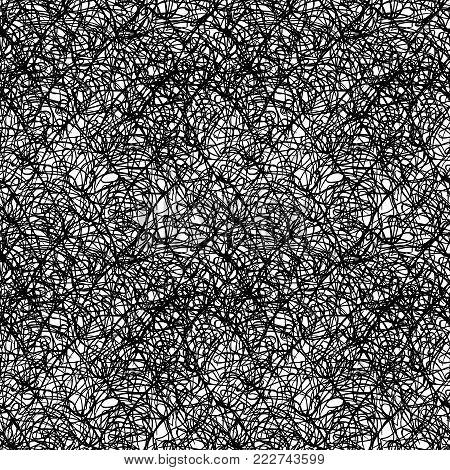 Monochrome black and white ink splash spot drip seamless pattern texture background vector