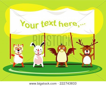 Vector illustration of cute animal set including tiger, rabbit, eagle and deer. together and peacefully holding the banner
