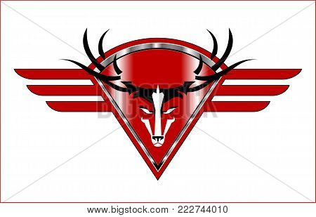 Wild Buck Icon On The Red Metallic Winged Diamond Shield.