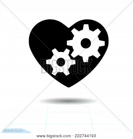 Heart icon. A symbol of love. Valentine s day with the sign of the gears inside. Flat style for graphic and web design, logo. Rotating Parts, vector illustration