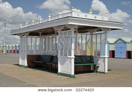 Shelter on seafront promenade at Hove, Brighton. East Sussex, England poster