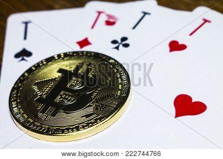 Bitcoin like a joker in poker card game. poster