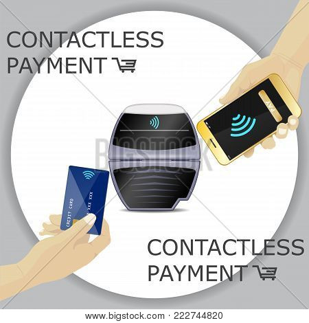 Contactless payments set. POS terminal, smartphone, credit card. Hand holding device. NFC, Credit Card payments. Gray circle background. Vector Icon. Wifi Mobile Pay. Wireless