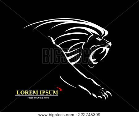 Lion, Roaring and Growling in the Dark. white illustration on black background.
