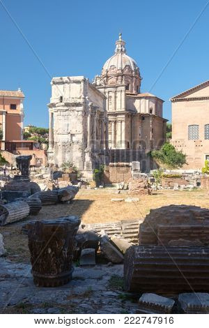 Ruins of the ancient Roman Forum in central Rome