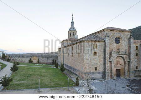 Sunset at the Monastery of Yuso, in San Millan de la Cogolla, La Rioja, Spain. UNESCO World Heritage Site since 1997.