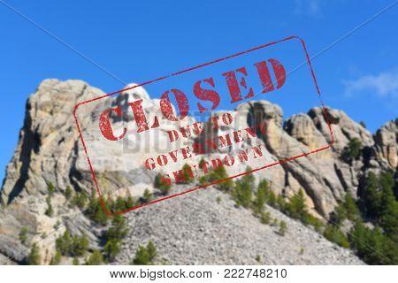 Closed Stamp Over Mount Rushmore National Memorial, in the Black Hills of South Dakota.