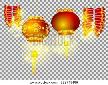 illustration of chinese lanterns and firecrackers on transparent background happy chinese new year concept vector