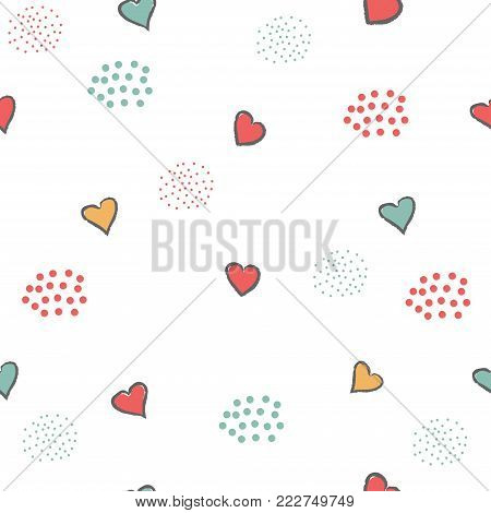 Creative Hand Drawn Seamless Pattern With Hearts.great For Wedding Cards, Postcards, T-shirts, Brida