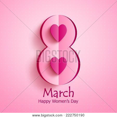 Happy women's day vector banner design with March 8 text and paper cut heart in pink pattern background for international women's day celebration. Vector illustration.